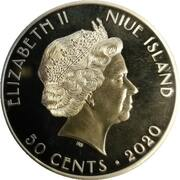 50 Cents - Elizabeth II (75 Years Peace and Liberty) – obverse