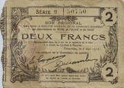 2 francs - départements du Nord [59], de l'Aisne [02] et de l'Oise [60] – obverse