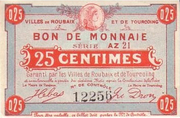25 Centimes - Villes de Roubaix et de Tourcoing – obverse