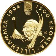 1500 Kroner - Harald V (1994 Olympics - Roald Amundsen) -  reverse