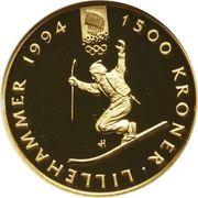 1500 Kroner - Harald V (1994 Olympics in Lillehammer) -  reverse