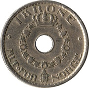 1 Krone - Haakon VII -  reverse