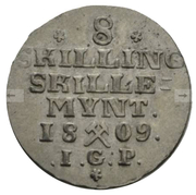 8 Skilling - Frederick VI – reverse