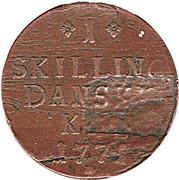 1 Skilling Danske - Christian VII – reverse