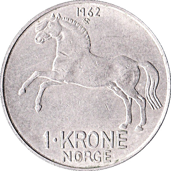Hand enamelled 1 krone Horse with black background. coin from Norway 1973