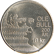 10 Kroner - Harald V (Ole Bull) – reverse