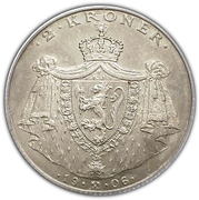 2 Kroner - Haakon VII (Independence; Type 1a - large Coat of Arms) -  obverse