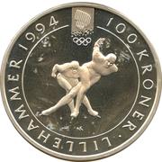 100 Kroner - Olav V (1994 Olympics - Speed Skating) -  reverse