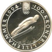 100 Kroner - Harald V (1994 Olympics -  Ski Jumping) -  reverse