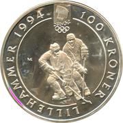 100 Kroner - Harald V (1994 Olympics -  Hockey) -  reverse