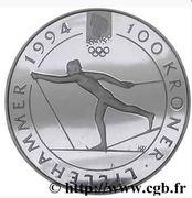 100 Kroner - Olav V (1994 Olympics -  Cross-Country Skiing) -  reverse