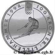 100 Kroner - Harald V (1994 Olympics -  Alpine Skiing) -  reverse