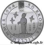 50 Kroner - Olav V (1994 Olympics in Lillehammer) -  reverse