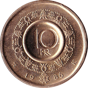 10 Kroner - Olav V -  reverse