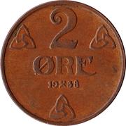 2 Øre - Haakon VII -  reverse