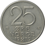 25 Øre - Olav V -  reverse