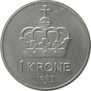1 Krone - Olav V -  reverse