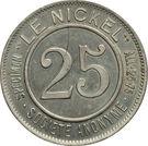25 Centimes (Nickel Token) – obverse