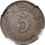 5 Centimes (Le Nickel) – obverse