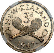 3 Pence - George VI (2nd type) – reverse