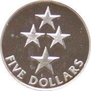5 Dollars - Elizabeth II (3rd Portrait; Four Stars, Silver Proof) -  reverse