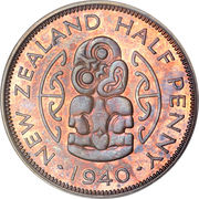 ½ Penny - George VI (1st type) – reverse