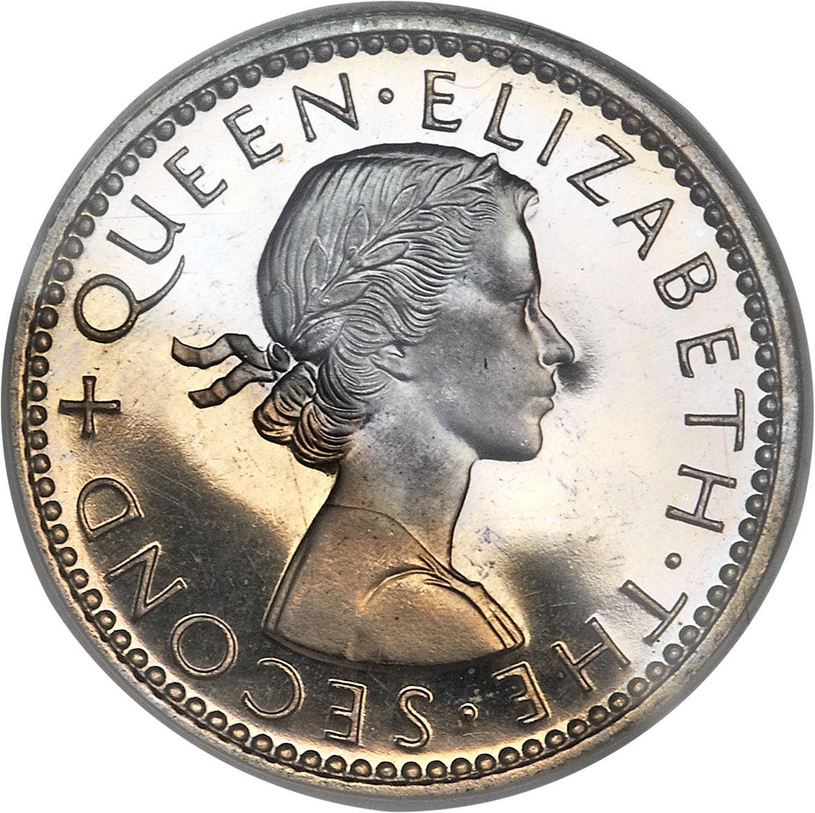 1964 New Zealand 6 Six Pence Queen Elizabeth Huia Bird BU Coin