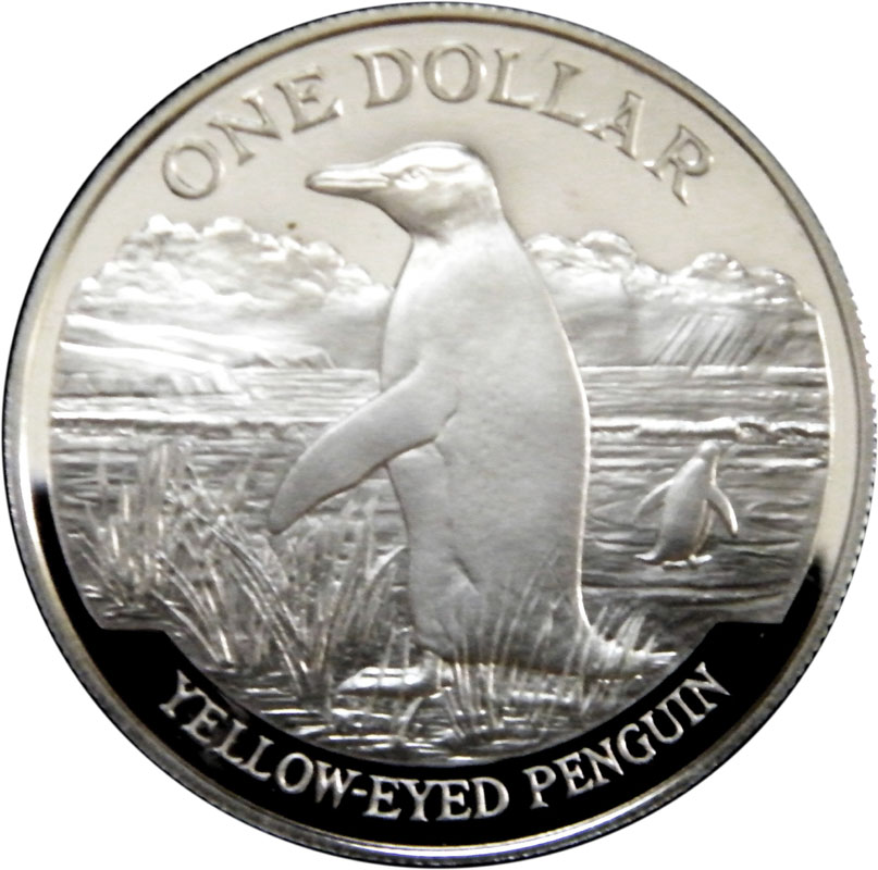 1 Dollar Elizabeth Ii Yellow Eyed Penguin Silver Proof