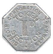 Token - 1 Penny - Dunedin Corporation Tramways – reverse