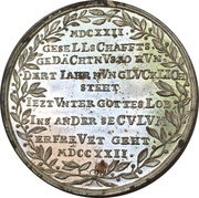 Medal - 100th anniversary of the Wednesday-shooting-society (Mitwochsschiess-Gesellschaft; Nürnberg) – reverse