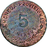 5 Centavos (Provisional Government) – reverse
