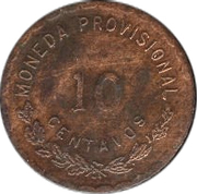 10 Centavos (Provisional Government) – reverse