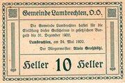 10 Heller (Lambrechten) -  reverse