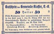 50 Heller (Klaffer; Blue issue) -  reverse