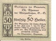 50 Heller (St. Thomas bei Waizenkirchen) -  obverse