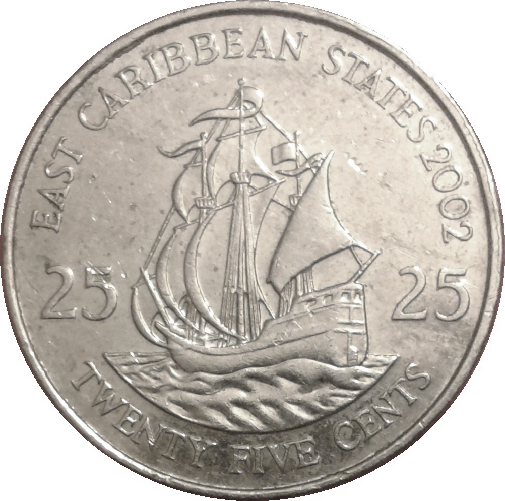 25 Cents Elizabeth Ii 4th Portrait Eastern Caribbean