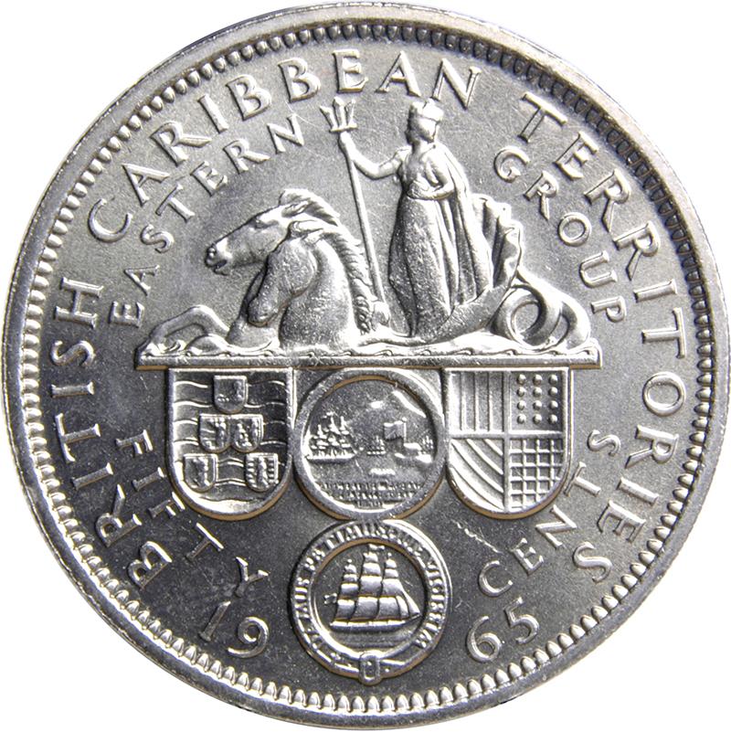 EAST CARIBBEAN TERRITORIES 50 CENTS 1955 UNC