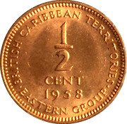 ½ Cent - Elizabeth II (1st portrait) – reverse