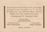 50 Heller (Oehling) -  reverse