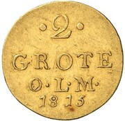 2 Grote - Peter Friedrich Ludwig (Gold Pattern) – reverse