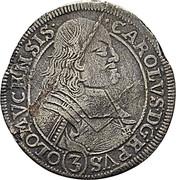 3 Kreuzer - Karl II von Liechtenstein-Kastelkorn (Kremsier) – obverse