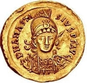 1 Solidus - Theoderic / In the name of Anastasius I, 491-518 (Reverse legend ending with monogram) – obverse