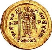1 Solidus - Theoderic / In the name of Anastasius I, 491-518 (Reverse legend ending with monogram) – reverse
