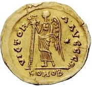 1 Solidus - Theoderic / In the name of Anastasius I, 491-518 (Reverse legend ending with christogram) – reverse