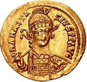 1 Solidus - Theoderic / In the name of Anastasius I, 491-518 (Reverse legend ending with letter) – obverse