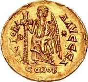 1 Solidus - Theoderic / In the name of Anastasius I, 491-518 (Reverse legend ending with letter) – reverse