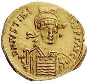 1 Solidus - Witigis / In the name of Justinian I, 527-565 (Ravenna) – obverse