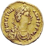 1 Tremissis - Witigis / In the name of Justinian I, 527-565 (Ravenna) – obverse