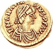 1 Tremissis - Theoderic / In the name of Anastasius I, 491-518 (Two stars; Rome) – obverse