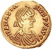 1 Tremissis - Theoderic / In the name of Anastasius I, 491-518 (One star) – obverse